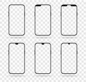 Grupo diferente do modelo da exposição do smartphone do entalhe ilustração do vetor