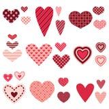 Grupo diferente do vetor dos corações Foto de Stock Royalty Free