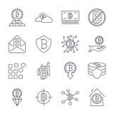 Grupo diferente dos ?cones de Bitcoin para o s?mbolo de moeda cripto do dinheiro do Internet e imagem da moeda para usar-se na We ilustração stock