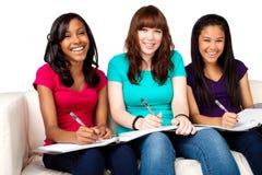 Grupo diverso de adolescentes studing Foto de archivo libre de regalías