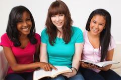 Grupo diverso de adolescentes studing Fotos de archivo libres de regalías