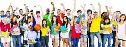 Grupo diverso de estudiante Friends Celebrating Concept Imagen de archivo libre de regalías