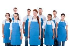 Grupo diverso de limpiadores profesionales Imagen de archivo libre de regalías