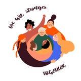 Grupo diverso de mulheres Poder da mulher feminine ilustração do vetor