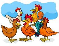 Grupo divertido de los animales del campo de la historieta de los pollos stock de ilustración