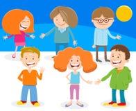 Grupo divertido de los caracteres de los ni?os de la historieta stock de ilustración