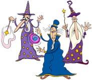 Grupo divertido de los personajes de dibujos animados de los magos stock de ilustración
