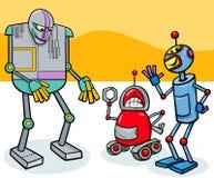 Grupo divertido de los personajes de dibujos animados de los robots stock de ilustración