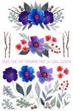 Grupo diy floral da aquarela Fotos de Stock Royalty Free