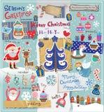 Grupo do álbum de recortes do Natal Fotografia de Stock