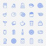 Grupo do ícone do alimento e da cozinha 25 ícones ilustração royalty free