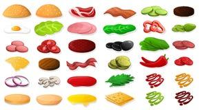 Grupo do ícone do alimento do elemento do hamburguer, estilo dos desenhos animados ilustração do vetor