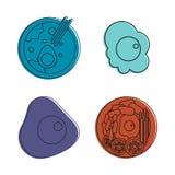 Grupo do ícone do alimento do ovo, estilo do esboço da cor ilustração royalty free