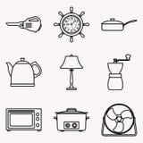 Grupo do ícone do aparelho eletrodoméstico Linha fina vetor Foto de Stock Royalty Free