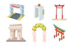 Grupo do ícone do arco, estilo dos desenhos animados ilustração stock