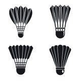 Grupo do ícone do badminton da peteca, estilo simples ilustração do vetor