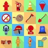 Grupo do ícone do bombeiro, estilo liso ilustração royalty free