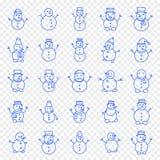 Grupo do ícone do boneco de neve do Natal ilustração royalty free