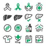Grupo do ícone do câncer do fígado ilustração royalty free