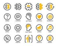 Grupo do ícone do cérebro esquerdo e direito ilustração stock