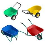 Grupo do ícone do carrinho de mão, estilo isométrico ilustração stock