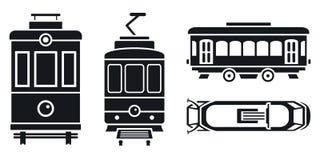 Grupo do ícone do carro do bonde, estilo simples ilustração do vetor