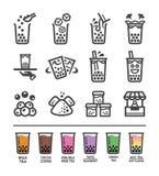 Grupo do ícone do chá do leite da bolha ilustração royalty free