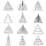 Grupo do ícone da árvore de abeto do Natal. Decoração do feriado do ano novo do inverno   coleção. ilustração stock