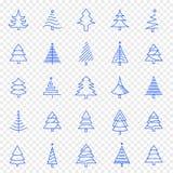 Grupo do ícone da árvore de Natal 25 ícones do vetor embalam ilustração stock