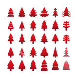 Grupo do ícone da árvore de Natal, vetor eps10 Fotografia de Stock