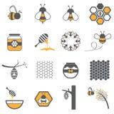 Grupo do ícone da abelha ilustração stock