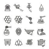 Grupo do ícone da abelha e do mel Imagem de Stock