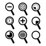 Grupo do ícone da ampliação ilustração stock