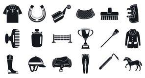 Grupo do ícone da atividade da equitação, estilo simples ilustração royalty free