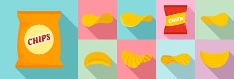 Grupo do ícone da batata das microplaquetas, estilo liso ilustração stock