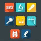Grupo do ícone da busca, horizontalmente com sombra Foto de Stock Royalty Free