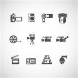 Grupo do ícone da câmara de vídeo e do cctv, vetor eps10 Fotografia de Stock