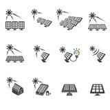 Grupo do ícone da célula solar Imagens de Stock Royalty Free