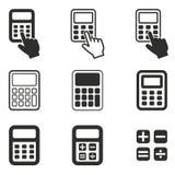 Grupo do ícone da calculadora Fotografia de Stock Royalty Free