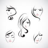 Grupo do ícone da cara da mulher bonita Imagem de Stock Royalty Free