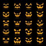 Grupo do ícone da cara da silhueta da cor da abóbora de Dia das Bruxas ilustração stock