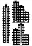 Grupo do ícone da casa de apartamento isolado no branco Foto de Stock