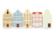 Grupo do ícone da casa de cidade histórica Fotos de Stock Royalty Free