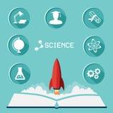 Grupo do ícone da ciência Os ícones lisos com sombra longa e o foguete voam acima ilustração royalty free