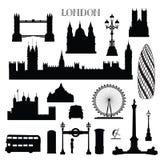 Grupo do ícone da cidade de Londres Silhueta do marco de Inglaterra com rotulação Imagem de Stock Royalty Free