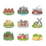 Grupo do ícone da cidade e da cidade Imagem de Stock Royalty Free