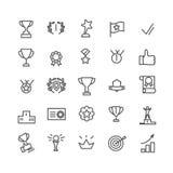 Grupo do ícone da concessão Linha arte Inclui ícones como o copo do troféu, objetivo, sucesso, polegares acima Pixel editável do  ilustração royalty free