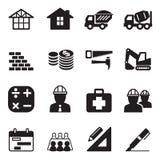 Grupo do ícone da construção da silhueta Ilustração Stock