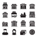 Grupo do ícone da construção de loja da silhueta Ilustração Royalty Free
