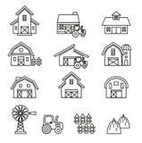 Grupo do ícone da construção do celeiro & de exploração agrícola Imagem de Stock Royalty Free